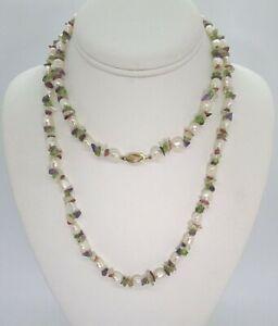 Necklace w 14K Yellow Gold Clasp / Amethyst / Aqua / Cirtine / Pearls / etc