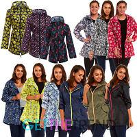 Womens Raincoat Ladies Fishtail Shower Rain Kagool Parka Hooded Jacket Coat Kag