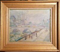 tableau huile /toile  - Paris , la Seine et Notre Dame - signé illisible