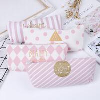 Pink Canvas Pen Pencil Bag Canvas School Stationary Makeup Pouch Cosmetics Cases
