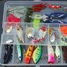 101pcs Trout Bass Fishing Lures Crankbaits Set Kit Soft and Hard Bait Hooks+ Box