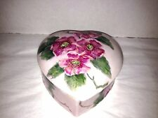 Porcelain Antique hand painted Trinket Jewelry Vanity Box Hearts and flowers 6""