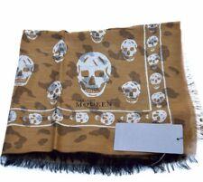 Alexander McQueen New Authentic Designer Womens Cotton Skull Shawl Scarf Wrap