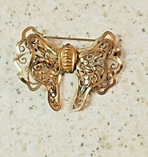 Brooch-2 Inch - Butterfly Shaped Regal 12K Gold Filled Filigree Bow
