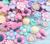 Mix Lots 3D Flower Resin Flatback Button  Scrapbook Diy Craft Phonecover