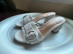Via Spiga Flor Slide Sandal WOMENS 37 US 7 MILK NUBUCK OFF WHITE NEW **ZZ
