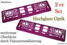 2 Hochglanz Chrom Kennzeichenhalter Nummernschildhalter Pink Metallisiert Set