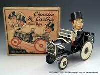 1938~Marx CHARLIE MCCARTHY and his BENZINE BUGGY Excellent TIN WIND UP in BOX