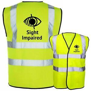 Sight Impaired Printed Hi Vis Safety Vest Hi Viz Waistcoat Tabard Blind Aid NEW