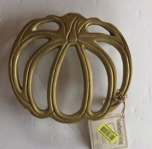 New Southern Living Festive Fall Pumpkin gold metal footed trivet