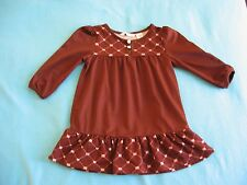 Red by Marc Ecko Baby Girl Brown & Pink Heart Long Sleeve Tunic Swing Top - 24M