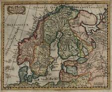 Scandinavia Denmark Sweden Norway 1690 Mosting beautiful hand color map