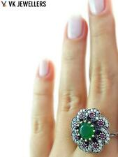 STERLING 925 SILVER SIZE 9 EMERALD HURREM RING TURKISH HANDMADE JEWELRY R1961