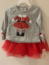 NWT Little Lass Christmas Outfit Sz 24M Tutu Shirt Tights Sequin Sparkle Gray Re