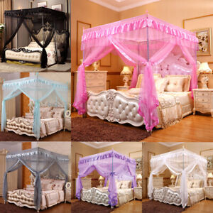 4 Corners Post Bed Canopy Curtain Mosquito Net Or Frame for Twin Full Queen King