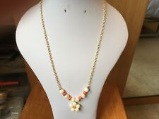 "18""-21"" Gold Plated Chain with White Shell & Orange Pearl Beads & Flower Pendant"