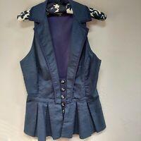 Anthropologie Eva Franco Women's Polka Dot Sleeveless Peplum Blazer Jacket Sz 6