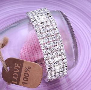 Ladies 5x Row Sparkly Crystal Rhinestone Bracelet Bangle For Women Bride Wedding
