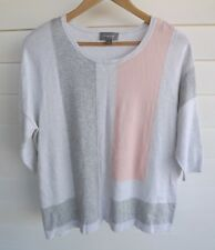 Sussan Women's White Grey & Pink Knit Top - Size S