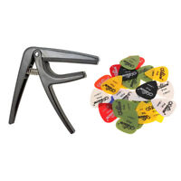 Guitare Capo Guitare Pick Tune Clamp avec 24pcs Guitare Plectrums Key