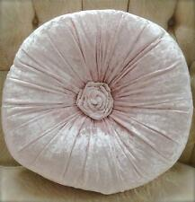 Shabby French Chic Vintage Pink Velvet Rosette Plush Round Cushion Toss Pillow