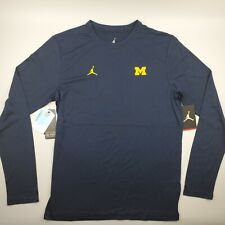 Michigan Wolverines Football Jordan On Field Coaches Long Sleeve Shirt Blue