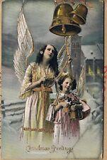 POSTCARD GOLD EMBOSSED ANGELS RING IN CHRISTMAS GREETINGS C1910