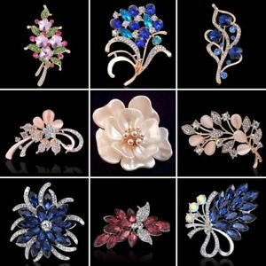 Womens Wedding Flower Crystal Rhinestone Pearl Brooch Pins Bridal Jewellery Gift