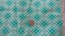 "Vintage Feedsack Feed Sack Fabric AQUA GREEN & CREAM PLAID 44""X37"""