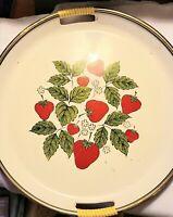 "Vintage Kitsch, Large 13"" Plastic Round Serving Tray Strawberries, Japan"