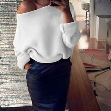 Womens Lady Fashion Off Shoulder Knitted Sweater Tops Jumper Pullover AU Store