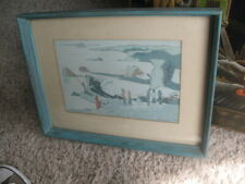 MID-CENTURY Modern ~ Blue Beach Fred Meirs Abstract  PAINTING