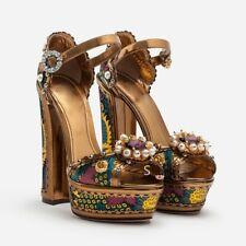 New Womens Rhinestones Embroidery Floral Platform High Block Heels Strap Sandals
