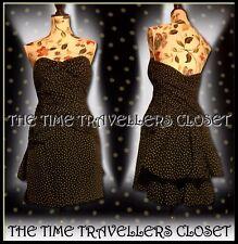 Topshop KATE MOSS Black White Spot Silk Boned Bandeau Mini Bustle Dress UK 12