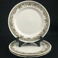 "Set of 3 VTG Salad Plates 7 1/4"" by Crown Regent Fine China Flowers Floral Swag"
