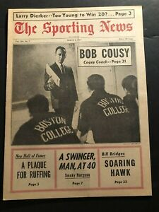 1967 Sporting News BOSTON CELTICS Bob COUSY No Label CAGEY COACH College Eagles