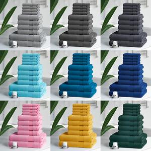 Egyptian Cotton 10 Piece Towel Bale Set Bathroom Face Flannels Hand Bath Towels