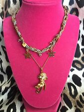Betsey Johnson Vintage Zoo Lovers Brown Checkered Crystal Gold Monkey Necklace