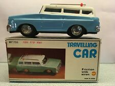 Diecast Travelling Car Station Friction Siren 1:? Blue/White Near Mint in Box