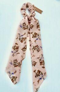 Pink Vintage Floral Scarf Scrunchie Hair Tie