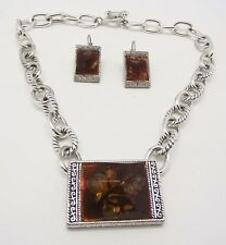 "ICON 15"" BROWN MULTI CRYLIC AMBER SILVER NECKLACE EARRINGS JEWELRY SET NEW"