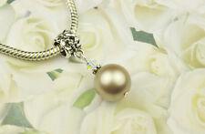Platinum Crystal Pearl Dangle Charm Bead European Style w Swarovski Elements