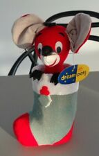 Vintage Dream Pets Sleepy Mouse R. Dakin & Co in hand made stocking Christmas