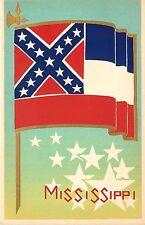 Sheehan Original Serigraph Postcard; Mississippi State Flag & Stars Unposted MS