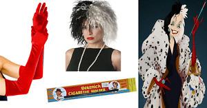 Cruella De Ville Wig Gloves Pearl Necklace & Cig Holder Ladies Deville Dalmatian