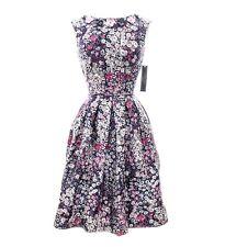 Tahari Arthur S. Levine Floral-Applique Printed Fit Blue Dress Size 14