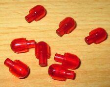 Lego City Stein Rund mit Pin 1x1 - in Rot Transparent - 8 Stück