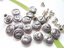 30pcs Button Metal Skull Head NO-SEW Tack Antiqued Silver Tone 10mm For Jean Hat