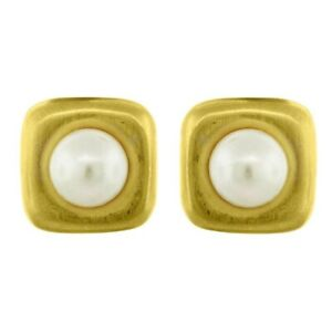 14k Yellow Gold over 925 Sterling Silver Pearl Ear-Clip Stud Earrings gift her