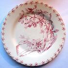 RARE Assiette Art Nouveau Terre de Fer Porcelaine opaque GIEN en rose: ORCHIDEES